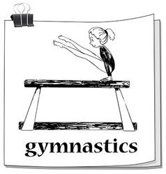 Card with girl doing gymnastics vector image