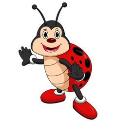cartoon ladybug waving vector image