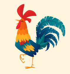 Cartoon rooster isolated vector