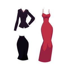 Cartoon woman office suit and evening dress vector