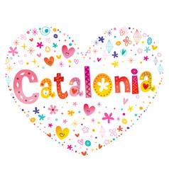 Catalonia autonomous community of spain heart shap vector