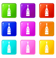 Champagne bottle icons 9 set vector