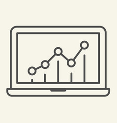 chart on laptop thin line icon graph on monitor vector image