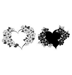 cherry blossom heart frame vector image