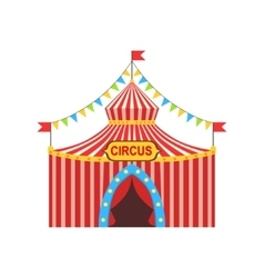 Circus temporary tent in stripy red cloth vector