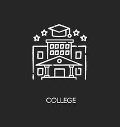 College chalk white icon on black background vector