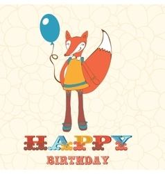 Colorful happy birthday card with cute fox girl vector
