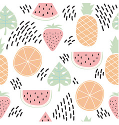 Colorful seamless pattern with tropical fruits vector