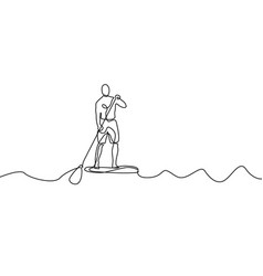 Continuous line man standing on paddle board vector