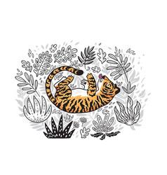 Contour print jungle with orange tiger in vector
