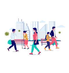 coronavirus people walking along street vector image