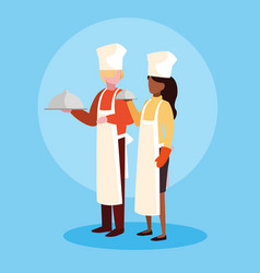Couple professionals chef avatar character vector