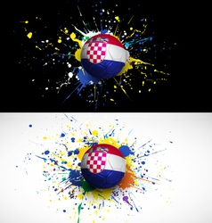 Croatia flag with soccer ball dash on colorful vector