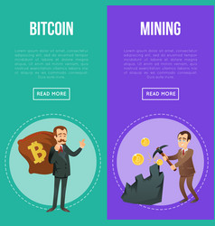 cryptocurrency flyers with happy businessman vector image