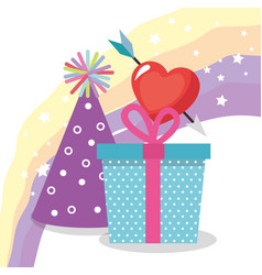cute giftbox with party hat birthday card vector image