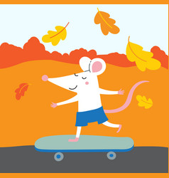 cute rat with skateboard traveling vector image