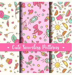 Cute seamless patterns prints for kids products vector