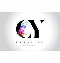 cy vibrant creative leter logo design with vector image