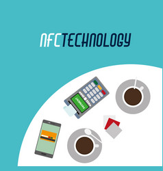 Dataphone with receipt and smartphone technology vector