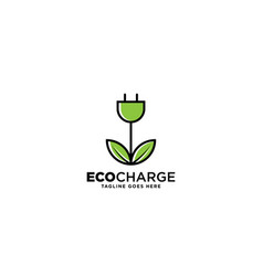 Eco charge logo design template vector