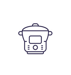 Electric cooker steamer line icon vector