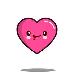 emoticon cute love heart cartoon character icon vector image