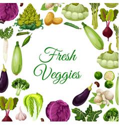 fresh vegetables mushroom and beans poster design vector image