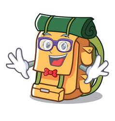 geek backpack character cartoon style vector image
