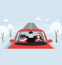 Girl in santa hat driving woman in vector