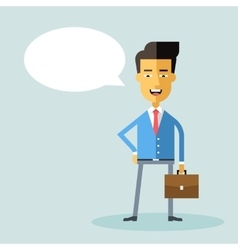 Handsome asian businessman with a briefcase Flat vector