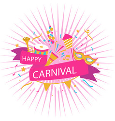 happy carnival pink ribbon background image vector image