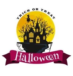 happy halloween badge and label vector image