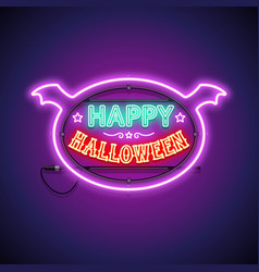 happy halloween neon sign in frame vector image