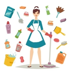 Housewife girl and home cleaning equipment icon in vector