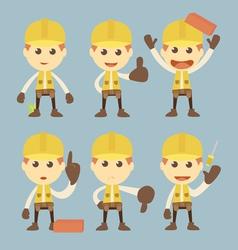 Industrial Construction Worker character set carto vector