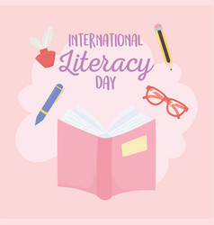 international literacy day textbook glasses pen vector image