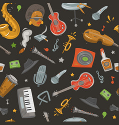 Jazz band and musical instruments seamless vector
