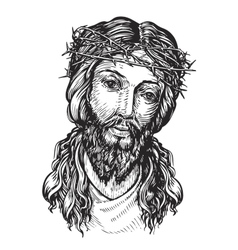 Jesus Christ with thorny wreath on his head vector