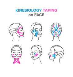 Kinesiology taping on face vector