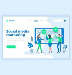 Landing page template social media marketing with vector