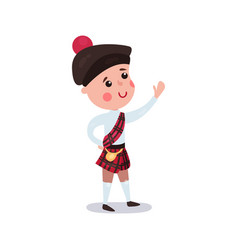 little boy wearing traditional costume of scotland vector image
