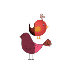 love card with cute bird vector image