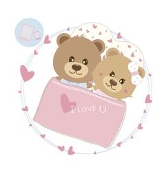 Love concept of couple teddy bear doll sleeping vector image
