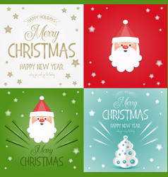 Merry christmas greeting cards set vector