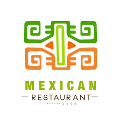 Mexican restaurant logo design authentic vector