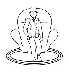 old man sitting black and white vector image
