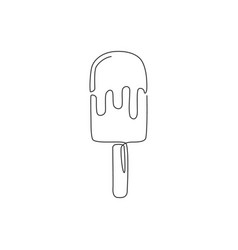 One single line drawing fresh sweet popsicles vector
