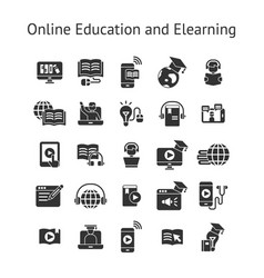 Online education and elearning solid icon set vector