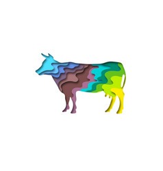 paper cut cow shape 3d origami vector image