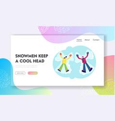 people have wintertime fun website landing page vector image
